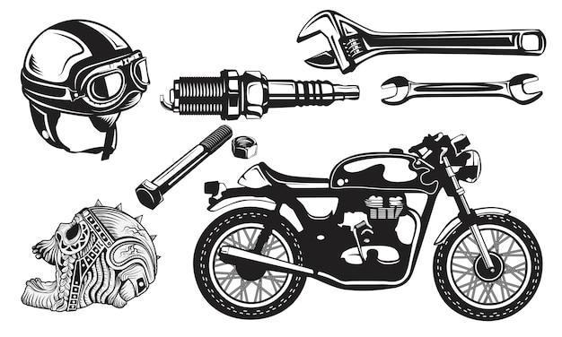 Set motorcycles garage logo emblem