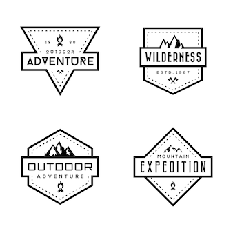 Set of mountain badges
