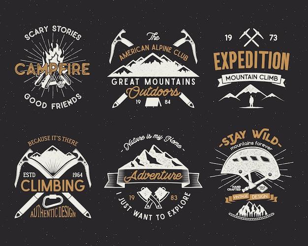 Set of mountain climbing labels