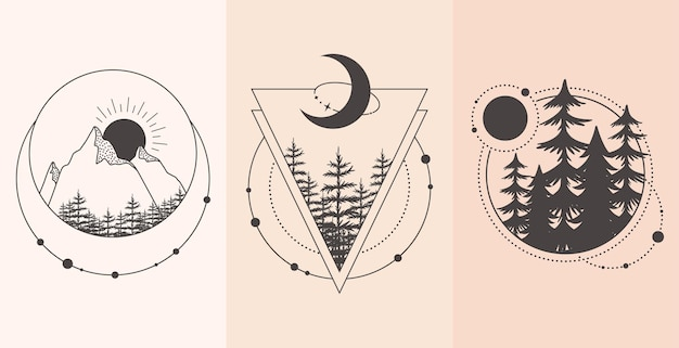Set of mountain and forest landscape in tattoo style.  illustration