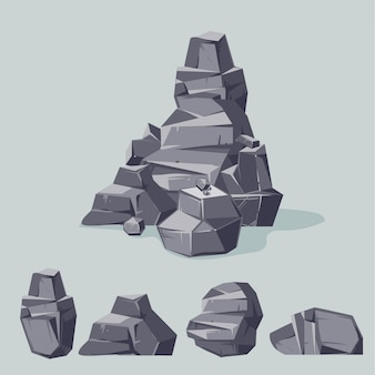 Set of mountain gray rocks. cartoon isometric 3d flat style. set of different boulders