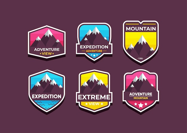 Set the mountain logo and badges.