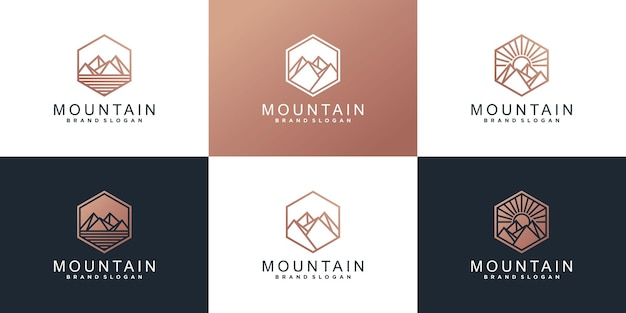 Set of mountain logo design template with  modern concept premium vector