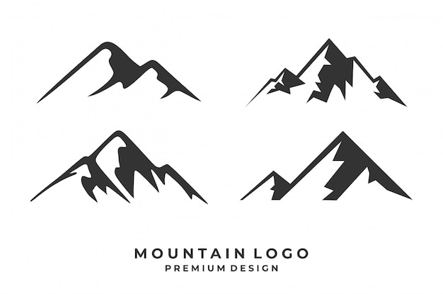 Set of mountain logo design.
