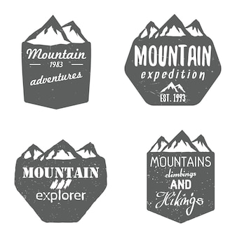 Set of mountain shields badges and design templates with text. vector illustration