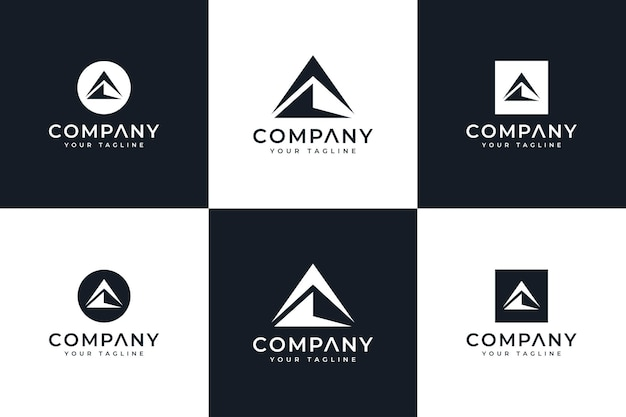 Set of mountain triangle logo creative design for all uses