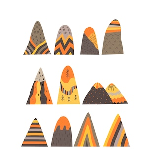 Set of the mountains in a scandinavian style on white background. flat vector illustration.