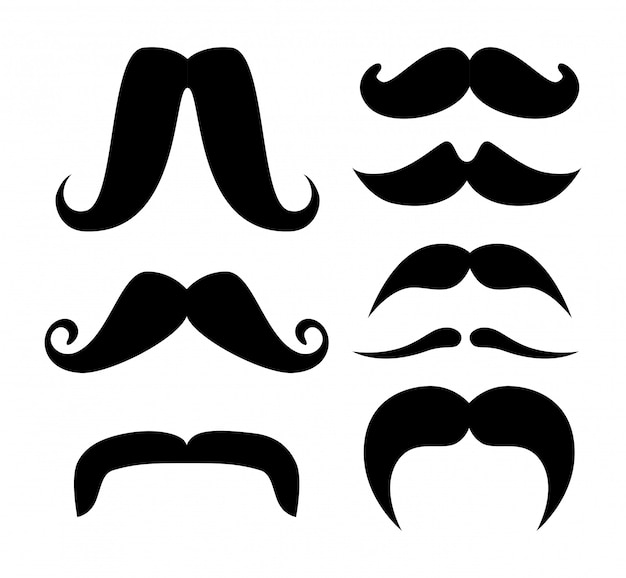 Set of moustache silhouettes