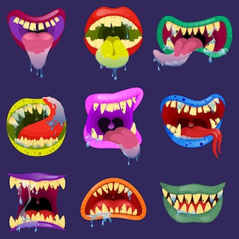 Set mouths of monsters. monster expression funny, tongue and monster mouths with teeth illustration