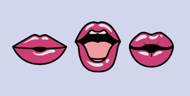 Set of mouths pop art styles
