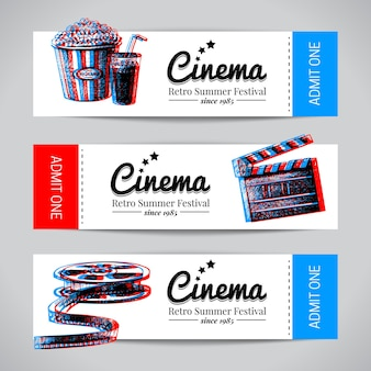 Set of movie banners. cinema festival tickets with hand drawn sketch vector illustrations