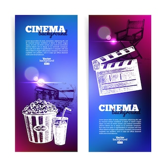 Set of movie cinema banners. background with hand drawn sketch illustrations and light effects