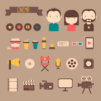 Set of movie design cinema icons in flat style
