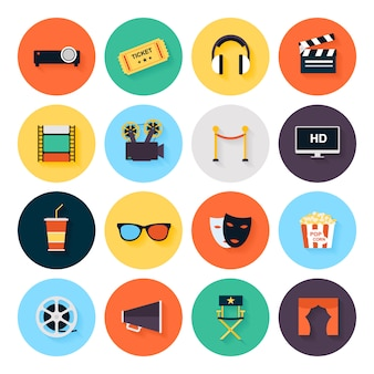 Set of movie design elements and cinema icons in flat style.