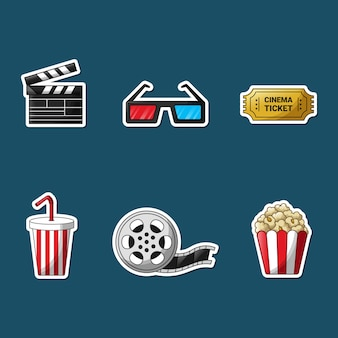 Set of movie element stickers.