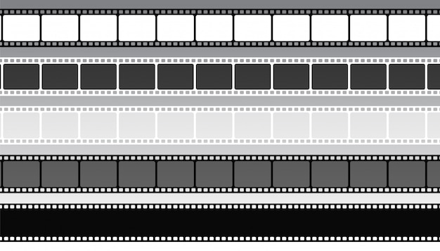 Set of movie film strips in different style