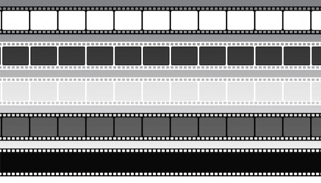 Set di strisce di pellicola cinematografica in stile diverso