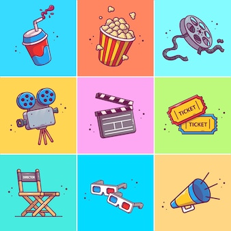 A set of movie   icon illustration. collections of movie icons concept isolated