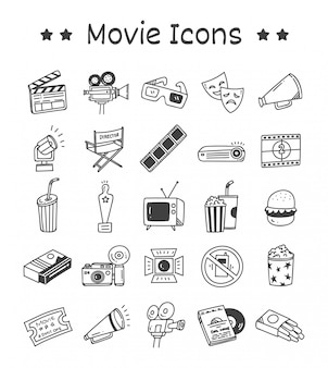 Set of movie icons in doodle style