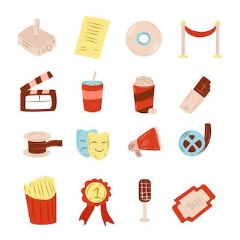 Set of movie teather template doodle style