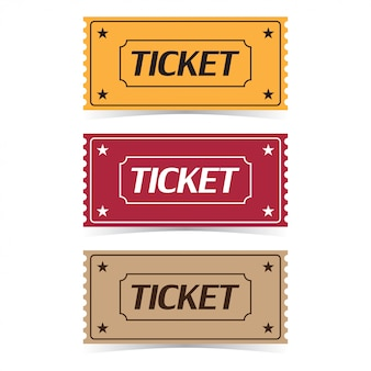 Set of movie ticket with shadows. flat cartoon style