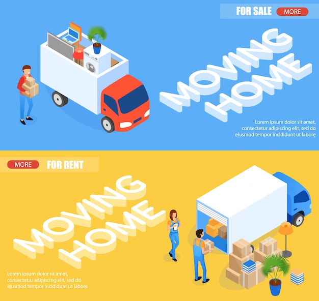 Set moving home for rent and for sale isometric