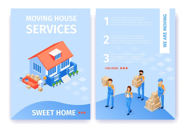 Set moving house services sweet home flat cartoon.