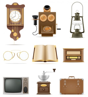 Set of much objects retro old vintage elements stock vector illustration