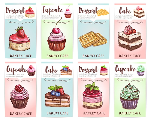 Set of muffin and waffle banners
