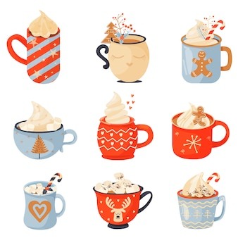 Set of mugs of cacao.