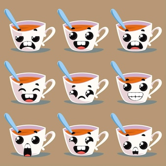 Set of mugs with emotions. vector illustration in cartoon style fun