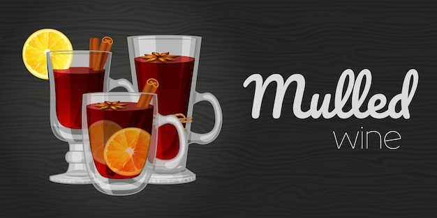 Set of mulled wine on wood black background. horizontal flyer. object for packaging, advertisements, menu.