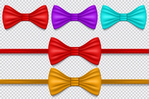 Set of multi colored bow tie