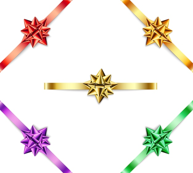 Set of multi-colored bows with ribbons on  white background.
