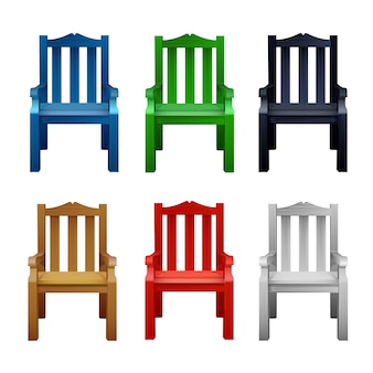 Set of multi-colored colored wooden chairs.