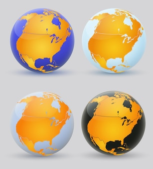 Set of multi-colored globes of america
