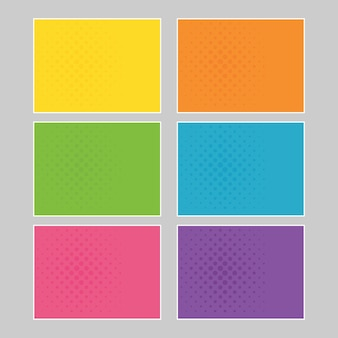 Set of multi colored pop art banners. halftone comic template with place for your text for design. vector illustration