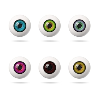 Set of multi-colored realistic colored human eyes.