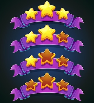 Set of multi-colored stars and ribbons