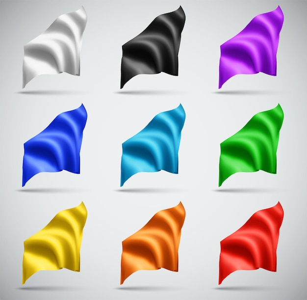 Set of multi-colored vector flags on a white background