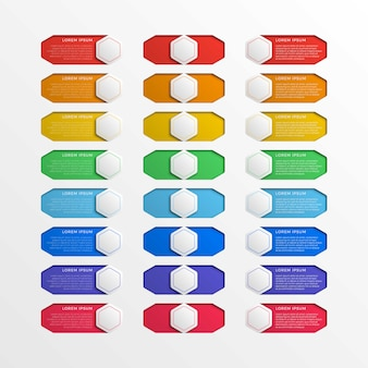 Set of multicolor switch interface hexagonal buttons with text boxes. 3d realistic infographic slider.