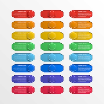 Set of multicolor switch interface hexagonal buttons with text boxes