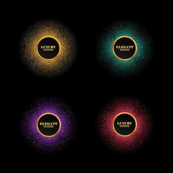 Set of multicolored abstract shiny mosaic backgrounds vector round frames with different sparkles festive disco lights