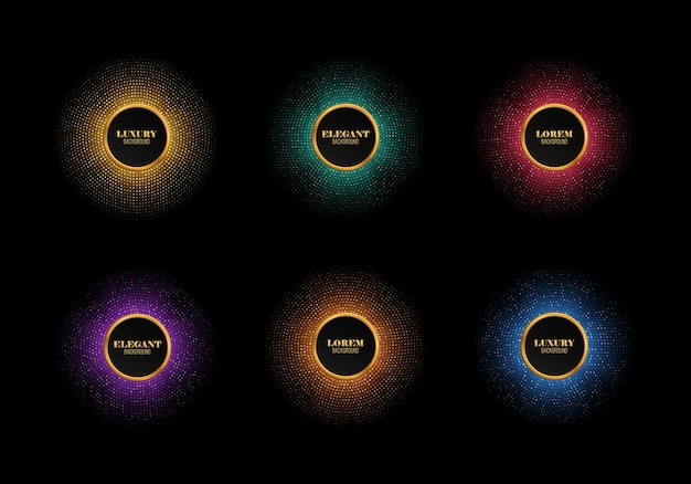 Set of multicolored abstract shiny mosaic backgrounds vector round frames with different sparkles