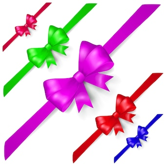 Set of multicolored bows made of ribbon, located diagonally, with shadows