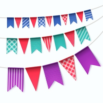 Set of multicolored buntings garlands flags  on white background