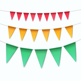 Set of multicolored buntings garlands flags  on white background Premium Vector