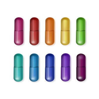 Set of multicolored capsules isolated on white background