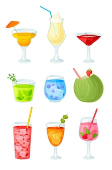 Set of multicolored cocktails with pieces of fruit