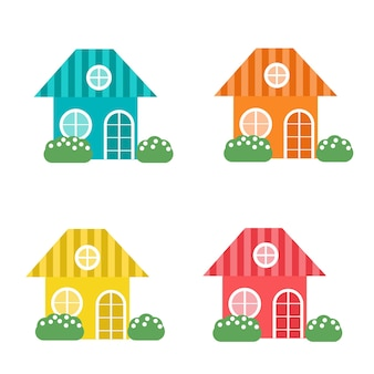 Set of multicolored cute houses isolated on white background. vector illustration